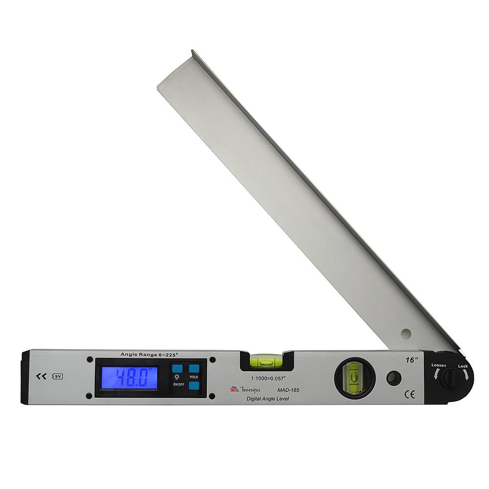 Medidor de Ângulo de 34cm Com Bolha Horizontal e Vertical de 0 a 180 graus MINIPA MAD-185