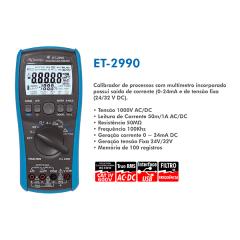 Mutímetro e Calibrador de Processo, Geração e Medição de corrente de LOOP, True RMS,  ET-2990 MINIPA